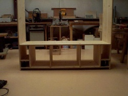 The TV unit is being assembled