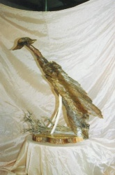 """AND FUN THINGS---This """"art"""" was made from various item collected on a vacation!  Legs are bones from a cave in Wy.  Body is driftwood from """"Lovers Island"""" in Upper Mich.  Head is driftwood from northern Wis.  Sage brush from WY. and the cypress base from FL"""